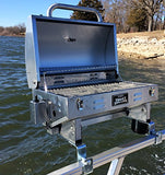 "Smoke Hollow Grill Modified for 1.25"" Railing on Pontoon Boats w/Arnall's Stainless Grill Brackets."