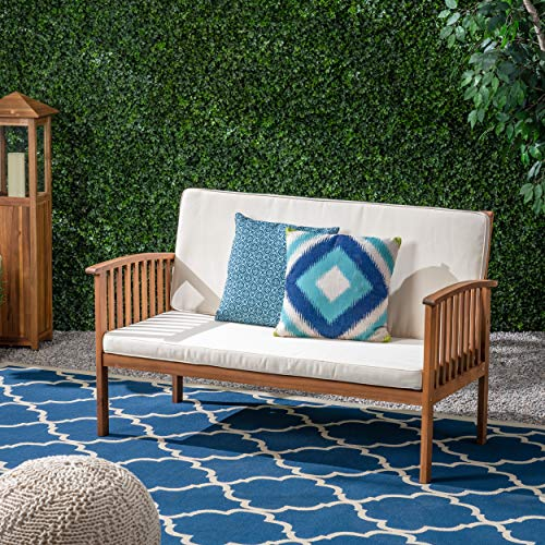 Christopher Knight Home 306038 Grace Outdoor Acacia Wood Loveseat, Brown Patina Finish and Cream