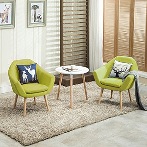 Magshion 2 Pcs Elegant Upholstered Fabric Club Chair Accent Chair W/ 2 Free Pillows (Green)