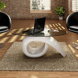 vidaXL Coffee Table Nightstand High Gloss White Storage Base Glass Tabletop