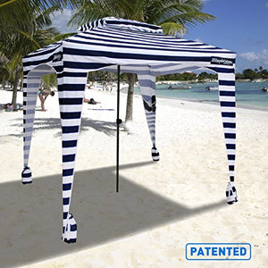 EasyGo Cabana - 6' X 6' - Beach & Sports Cabana Keeps You Cool and Comfortable. Easy Set-up and Take Down. Large Shade Area. More Elegant & Classier Than Beach Umbrella, Blue White Striped