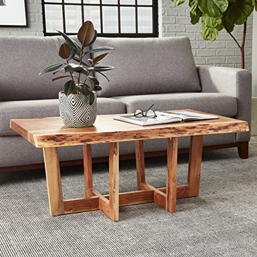 "Berkshire Live Edge Solid Wood 42"" Coffee Table, Natural"