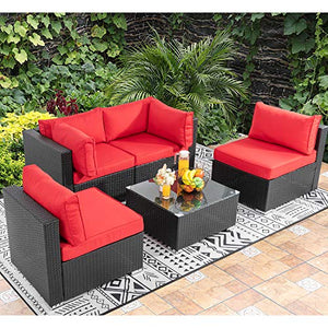 Walsunny 5pcs Patio Outdoor Furniture Sets,Low Back All-Weather Rattan Sectional Sofa with Tea Table&Washable Couch Cushions (Black Rattan) (Red)