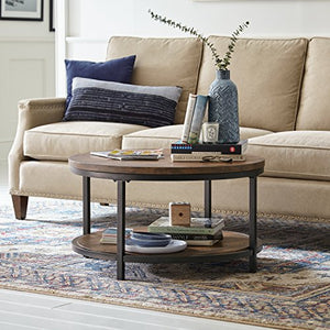 "Amazon Brand �Stone & Beam Larson Industrial Wood & Metal Round Coffee Table, 33""D, Walnut"