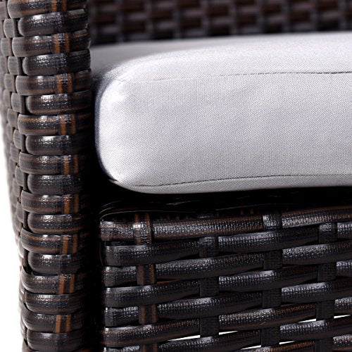 TANGKULA 2 Patio Chairs, Outdoor Rattan Wicker Chair Set with Arm Outdoor Modern Furniture Armchair Set with Removable Cushions (Mixed Brown with 2 Cushion Covers)