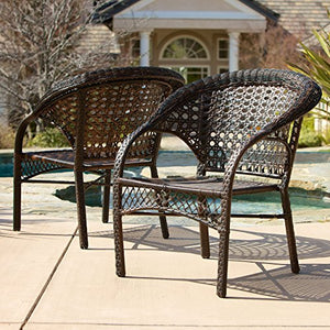 Christopher Knight Home Maria Wicker Fan Back Indoor/Outdoor Club Chairs, 2-Pcs Set, Brown