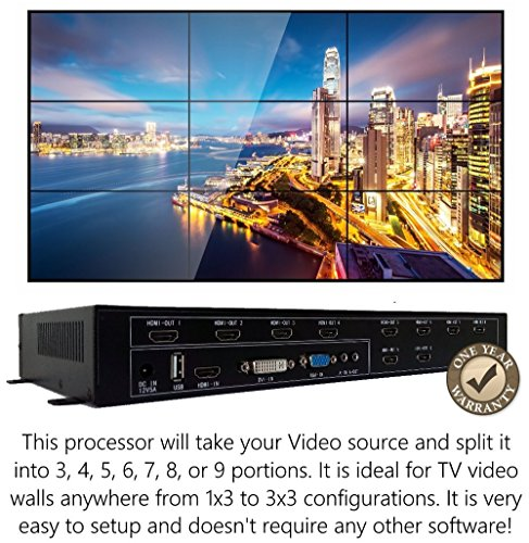 3x3 HDMI Video Wall Processor (2019 Version) HD TV 1080P Matrix Controller Splicer Splitter Display 3x2 2x2 3x1 1x3 2x3 4x2 2x4