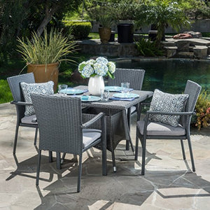 Christopher Knight Home Cabela | 5 Piece Wicker Outdoor Dining Set with Cushions | Perfect for Patio | in Grey
