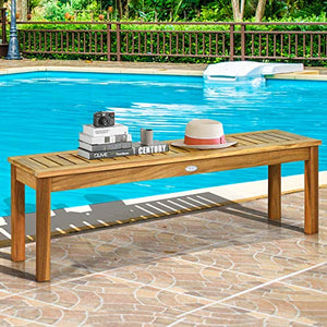 Tangkula 52 Inches Acacia Wood Outdoor Bench, Wood Bench for Dining Room Entryway Poolside Garden, Patio Backless Dining Bench with Slatted Seat, Ideal for Outdoors & Indoors (1, Teak)