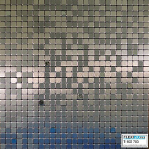 FLEXIPIXTILE,10-Piece Aluminum Mosaic Tile, Peel & Stick, Backsplash, Accent Wall, Silver Spoon