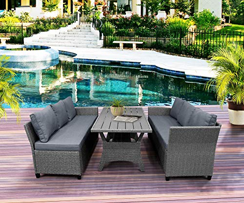LZ LEISURE ZONE Patio Dining Table Set Outdoor Furniture PE Rattan Wicker Conversation Set All-Weather Sectional Sofa Set with Table & Soft Cushions (Grey)