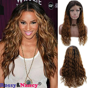Rossy&Nancy Dark Roots Ombre Golden Brown Glueless Lace Front Brazilian Human Hair Wig for Black Women with Baby Hair Natural Wave Curly 130% Density