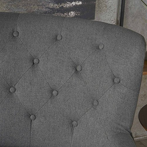 Christopher Knight Home Anikki Tufted Fabric Club Chair, Charcoal / Dark Brown