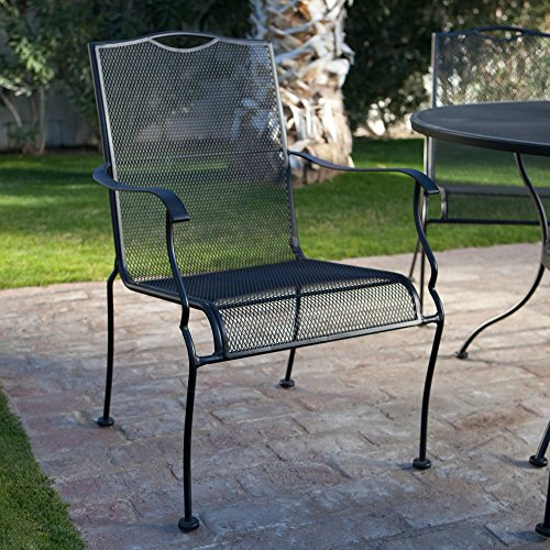 Belham Living Stanton Wrought Iron Dining Chair by Woodard - Set of 4 - Textured Black