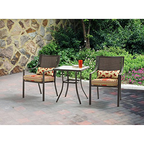Mainstays Alexandra Square 3-Piece Outdoor Bistro Set, Red Stripe with Butterflies, Seats 2