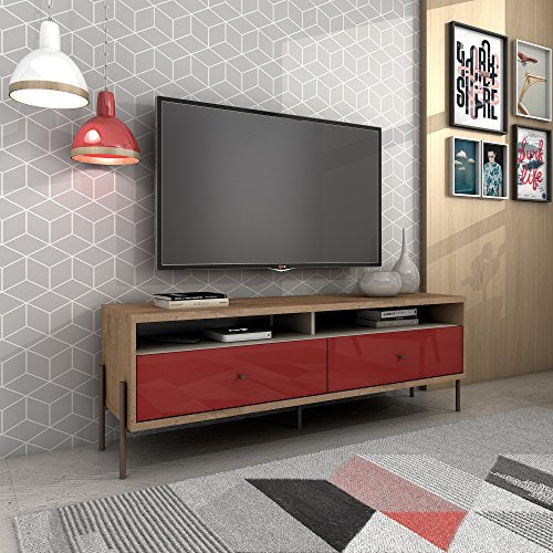 Manhattan Comfort Joy Series TV Stand, Red/Off-White
