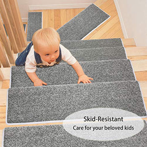 "PURE ERA Carpet Stair Treads Set of 14 Non Slip Self Adhesive Bullnose Indoor Stair Protectors Pet Friendly Rugs Covers Mats Skid Resistant Tape Free Washable Soft Solid Dark Grey 9.5"" x 30""x1.2"""