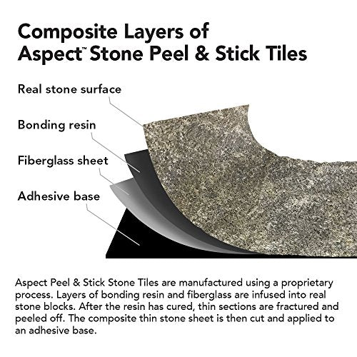 Aspect Peel and Stick Stone Overlay Kitchen Backsplash - Tarnished Quartz (Approx. 15 sq ft Kit) - Easy DIY Tile Backsplash
