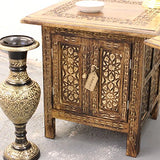Mehanadi Set of 2 Square Side End Hand Carved Brown Wooden Table Inner Storage