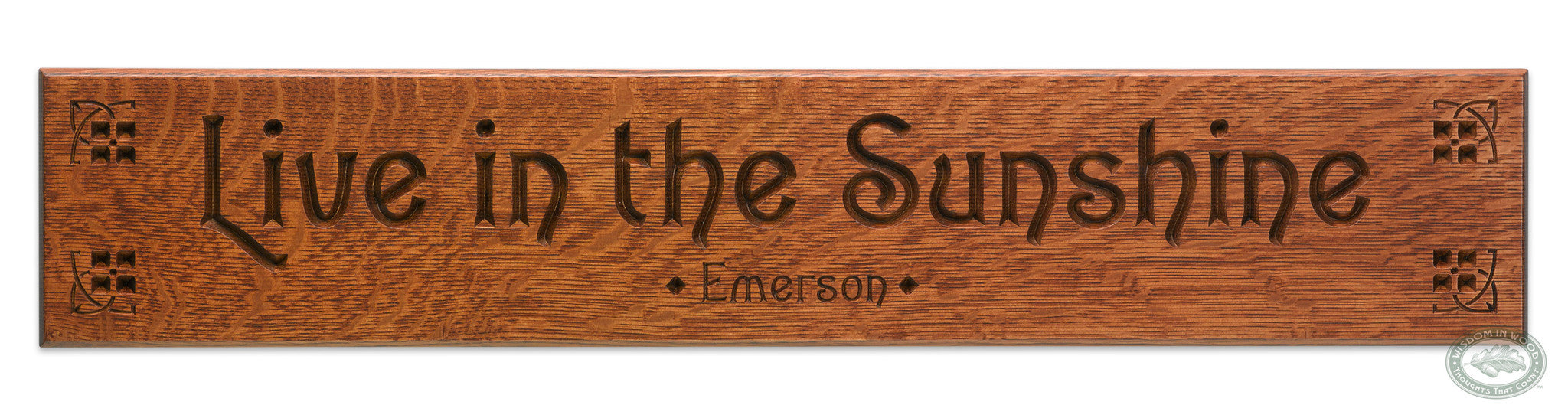 Emerson Quote Live In The Sunshine Carved Wall Art Good Thinking