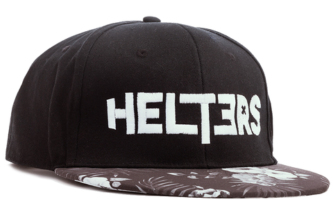 Black & White Flower Graphic Peak SnapBack Cap