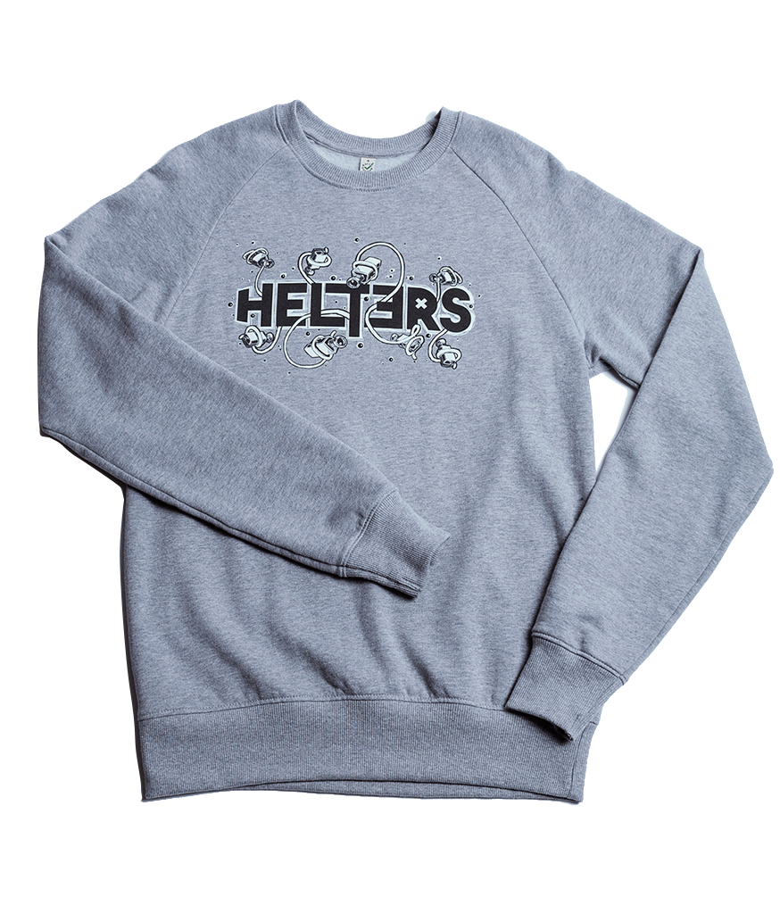 100% organic vegan cotton mens sweater in light heather. Fair wear foundation approved. By Helters