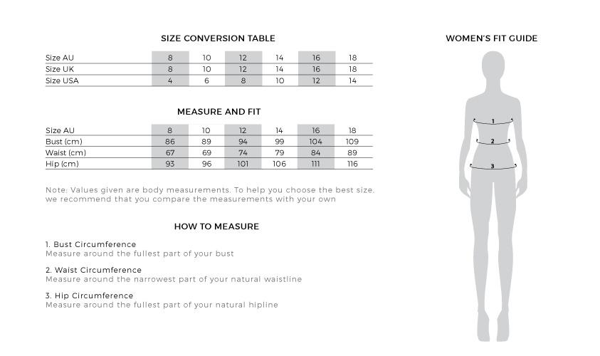 size guide ginia silks