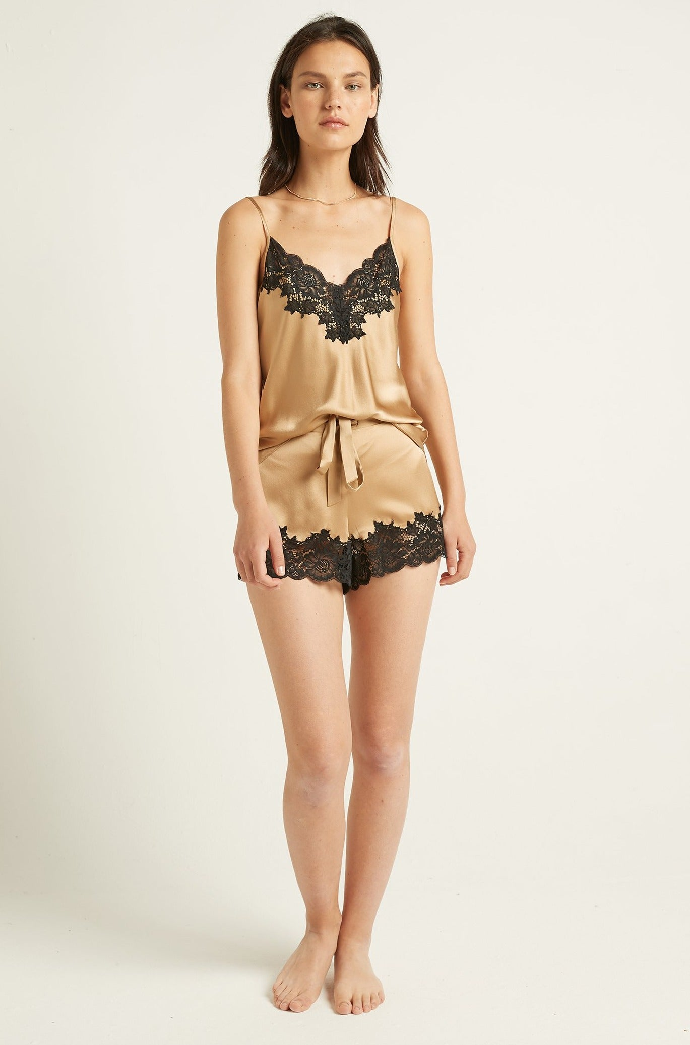 Gilded Gold Silk Short with Lace