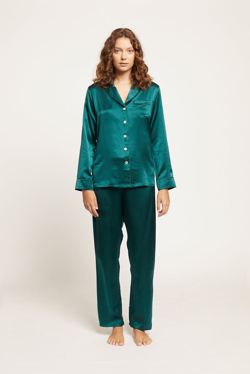 Emerald Fine Finish Silk Pyjama