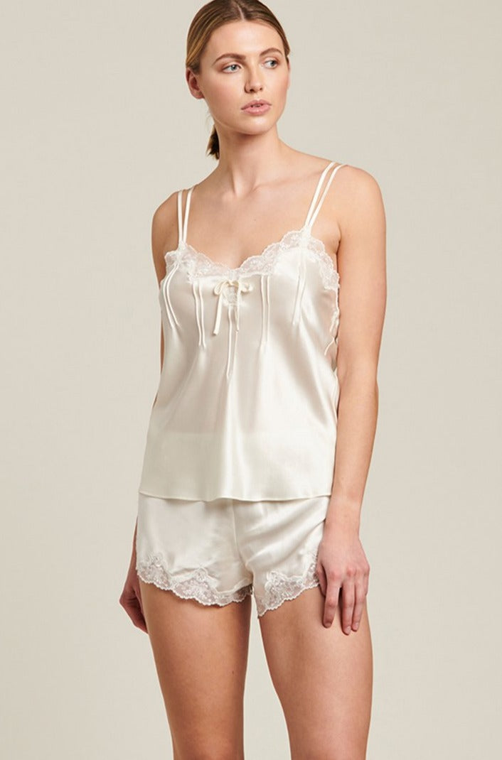 Creme Silk Cami with Pintuck and Lace