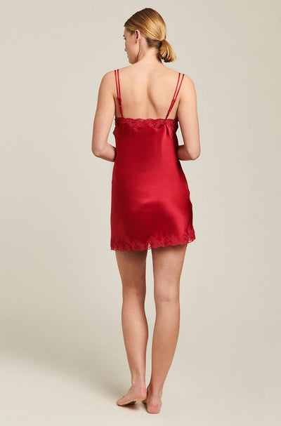 Ruby Silk Chemise With Pintucks and Lace