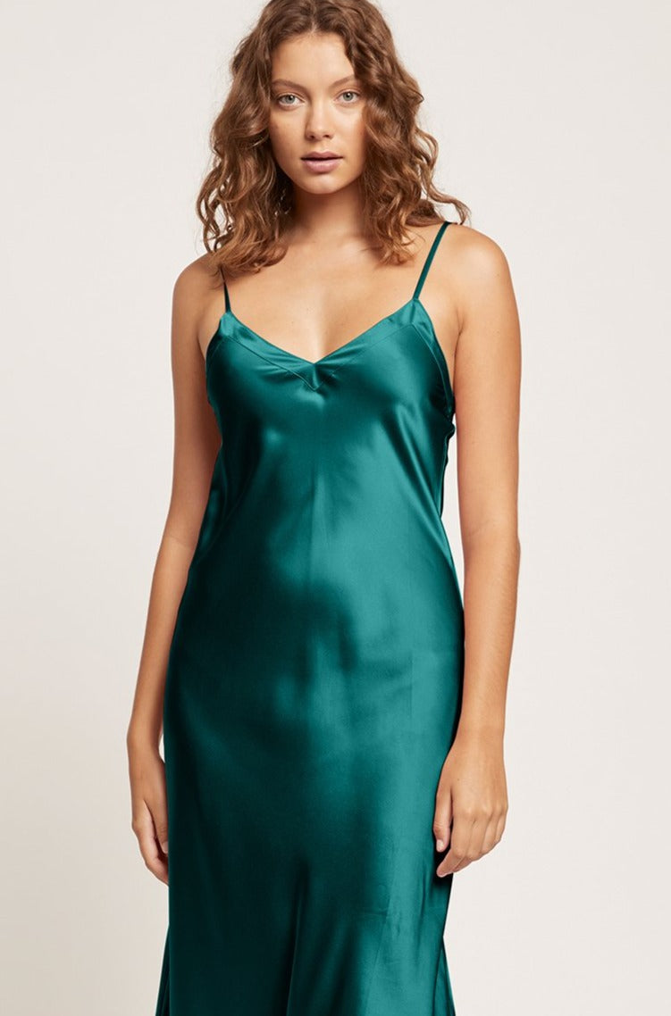 Emerald Silk V Neck Long Nite