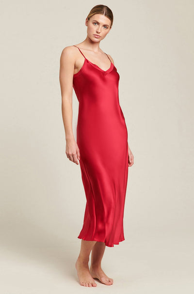 Ruby Silk V Neck Long Nite