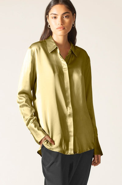 Silk Satin Poppy Shirt
