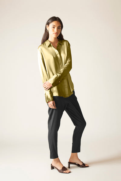 Ginia RTW,Silk Satin Poppy Shirt,Shirt