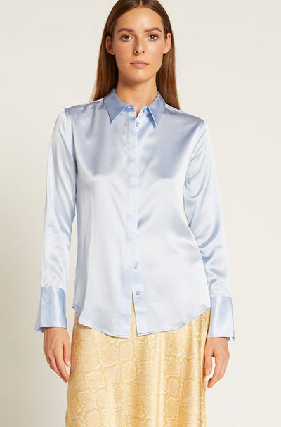Forever Blue Satin Poppy Shirt
