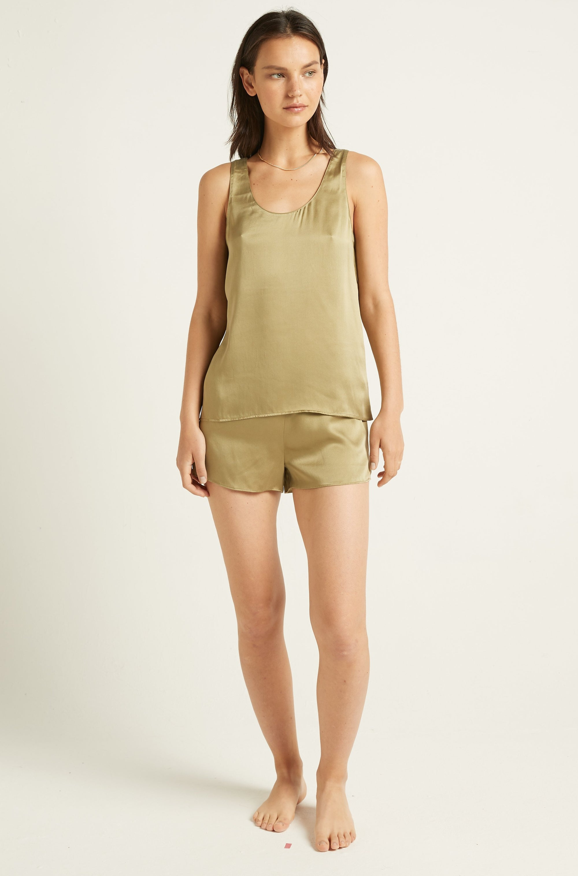 Burnt Olive Washable Silk Short