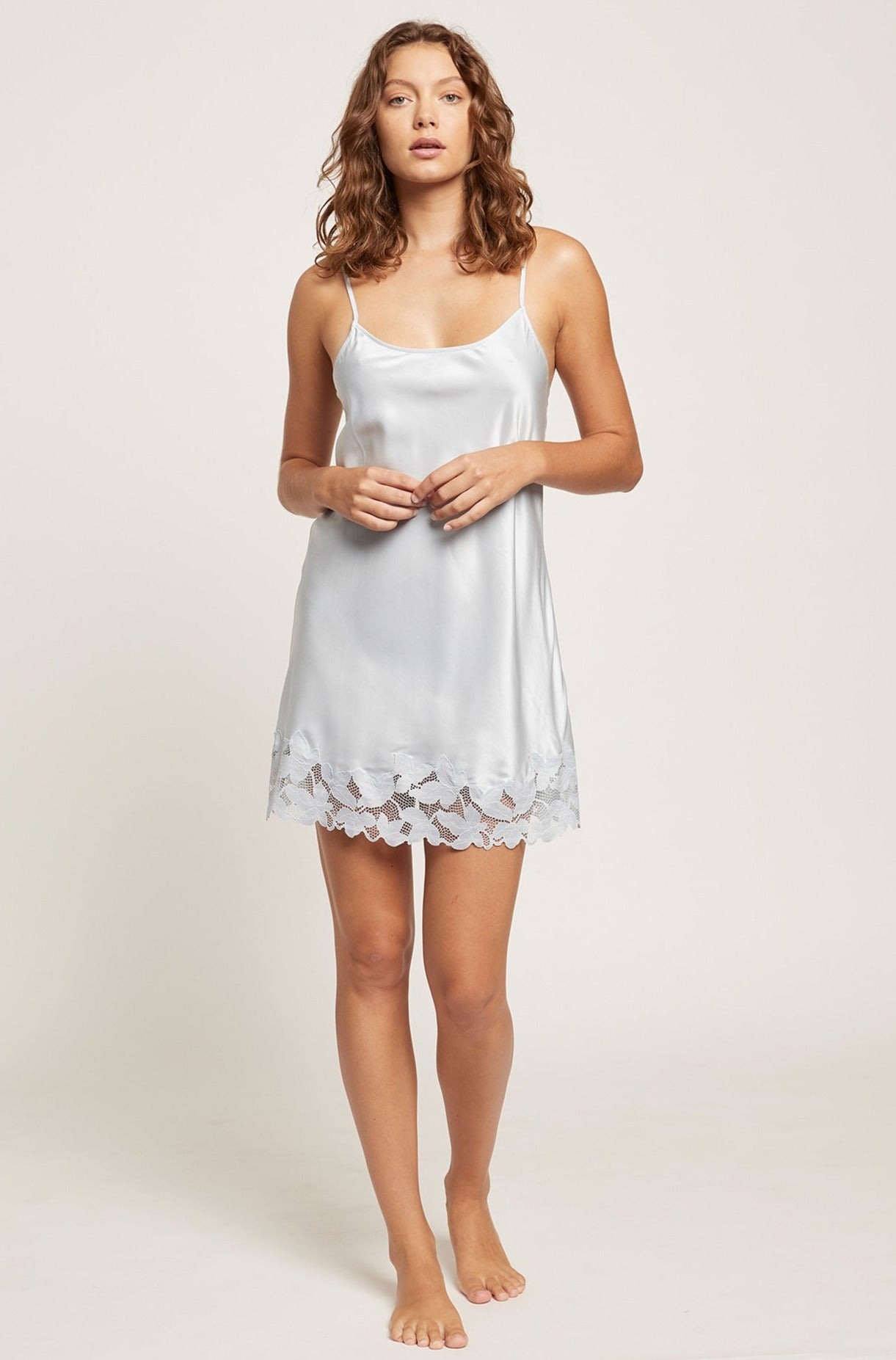 Ice Blue Washable Silk Leila Chemise