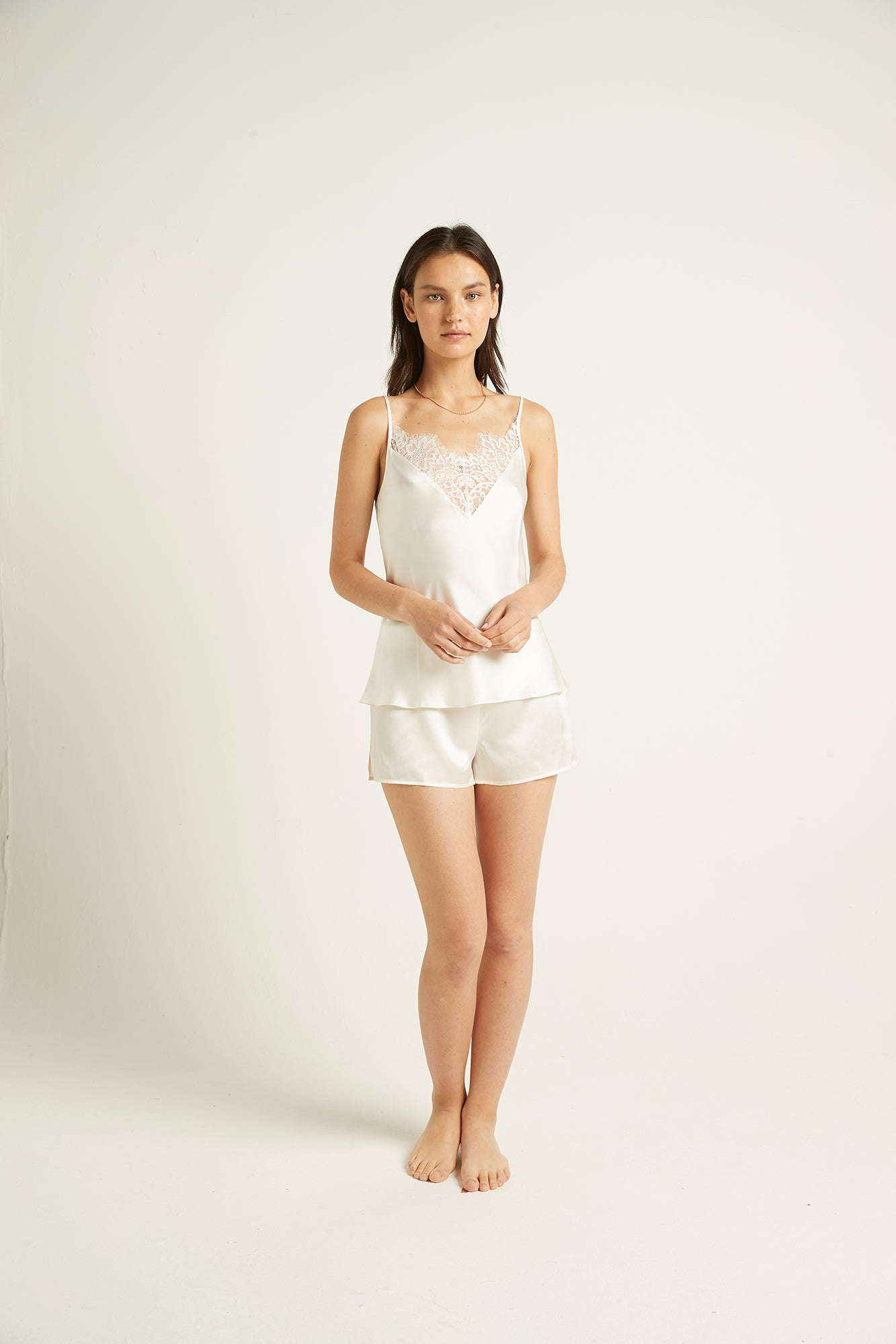 Ginia,Silk Cami With Lace,Cami