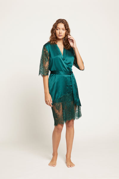 Emerald Blaise Silk Robe with Lace