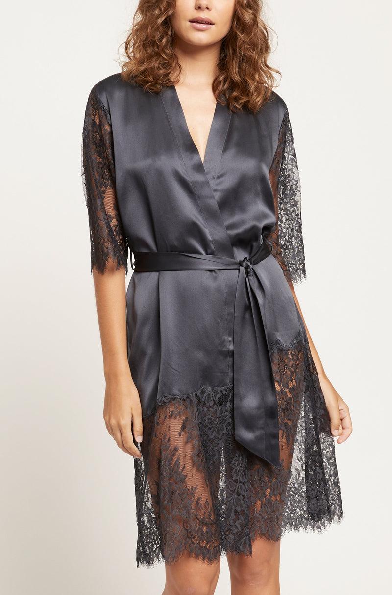 India Ink Blaise Silk Robe with Lace
