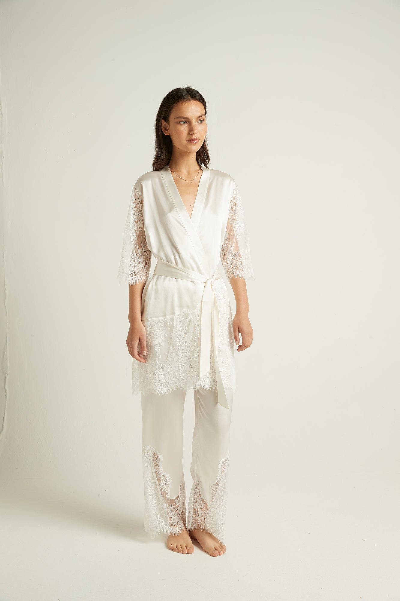 Ginia,Ivory Silk Blaise Pant with Lace,Pants