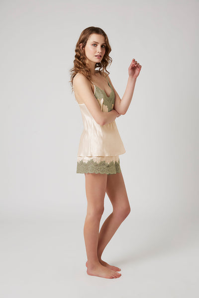 Silk Shorts With Lace