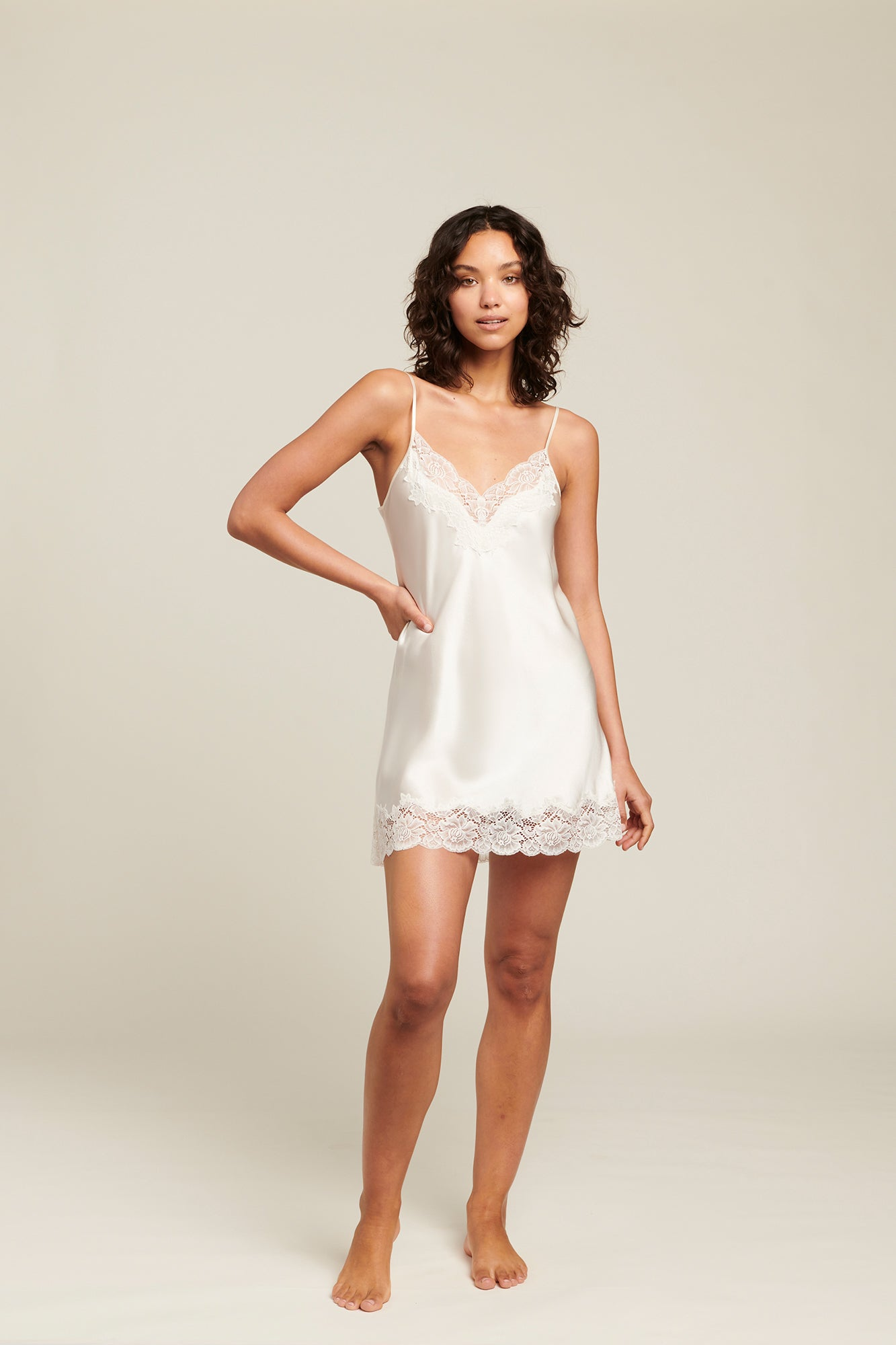Silk Chemise With Lace