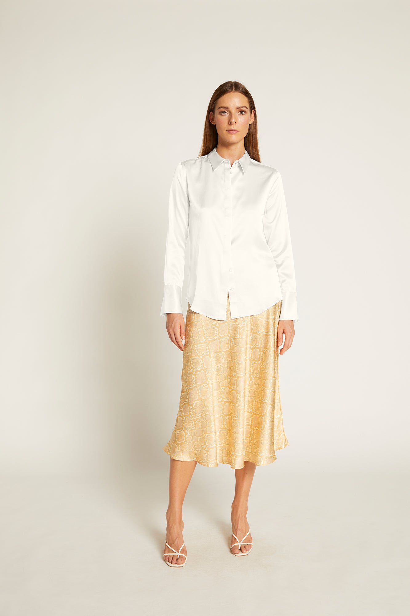 White Silk Satin Poppy Shirt