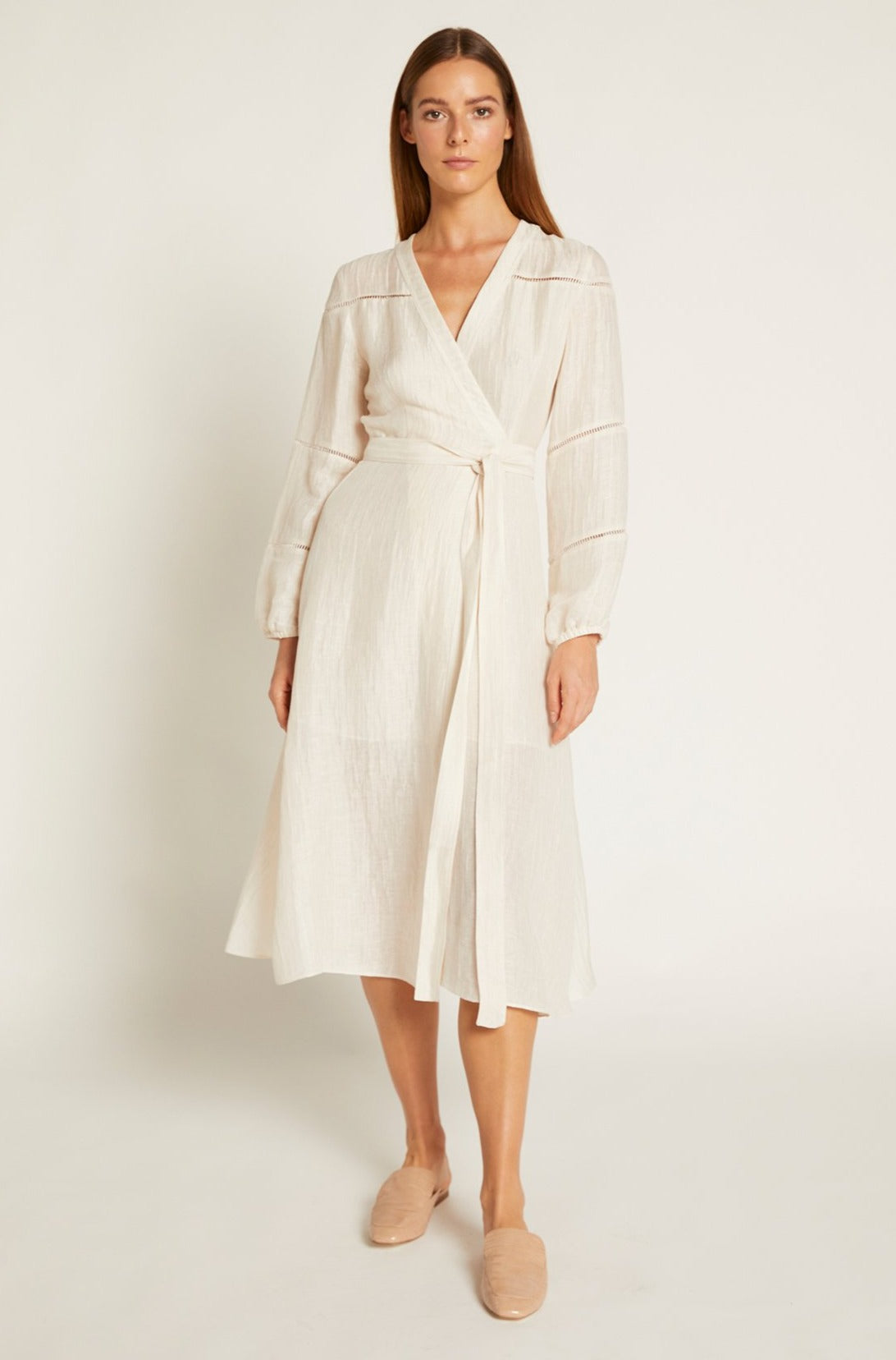 Ivory Luca frill wrap dress