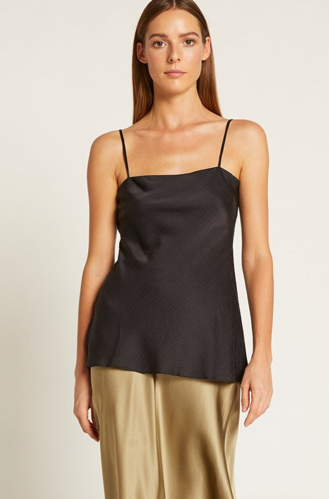 Black Hammered Silk Avery Cami