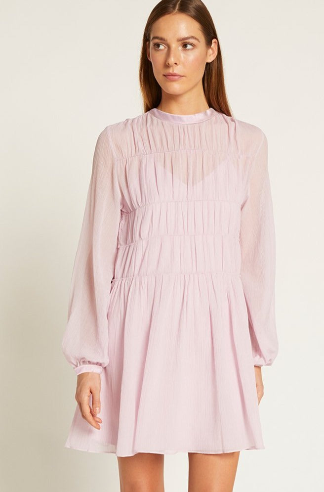 Lilac Finley Gathered Mini Dress