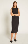 Black Keira Plisse Silk Dress