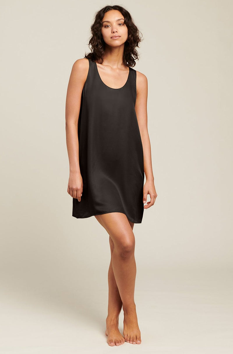 Black Washable Silk Chemise